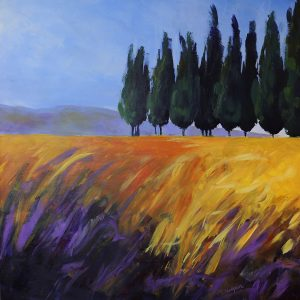 Bring home the dream of time in Tuscany. Feel the warmth and vibrancy in this original acrylic painting with rich yellows and purples.
