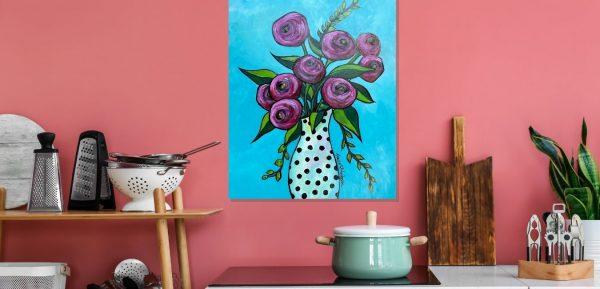 Original Acrylic Painting Aquas Pinks