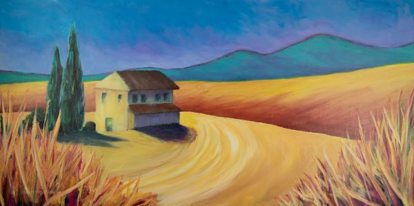 'Sometime in September' original acrylic art in rich yellows and siennas